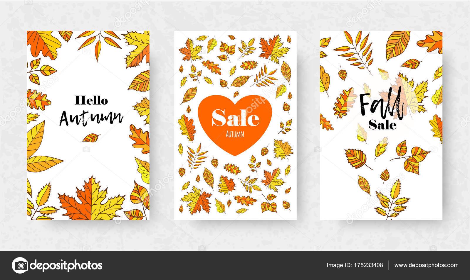 Satz Von Herbst Verkauf Flyer Vorlage Mit Orange Blätter Angebot