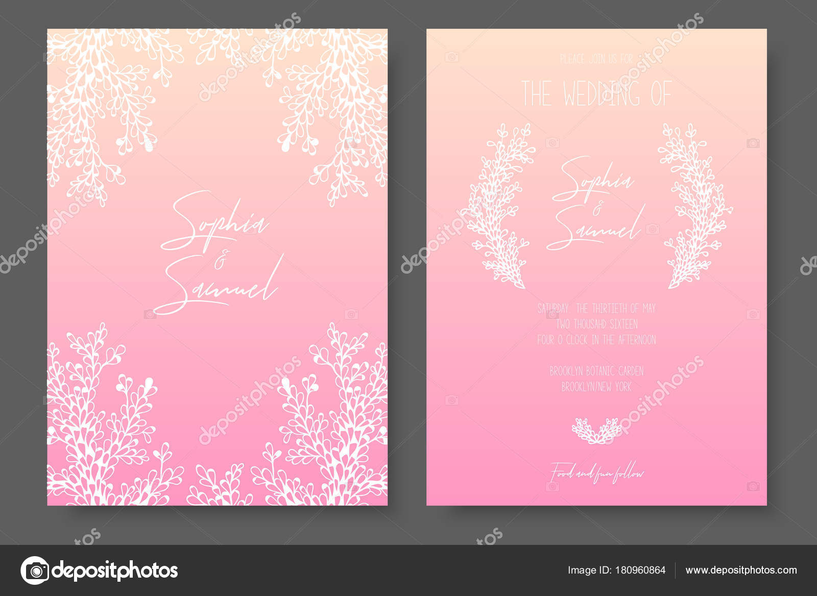 delicate wedding invitation templates pink design with abstract white plants a luxurious tepmlates for the save the date wedding invites greeting cards