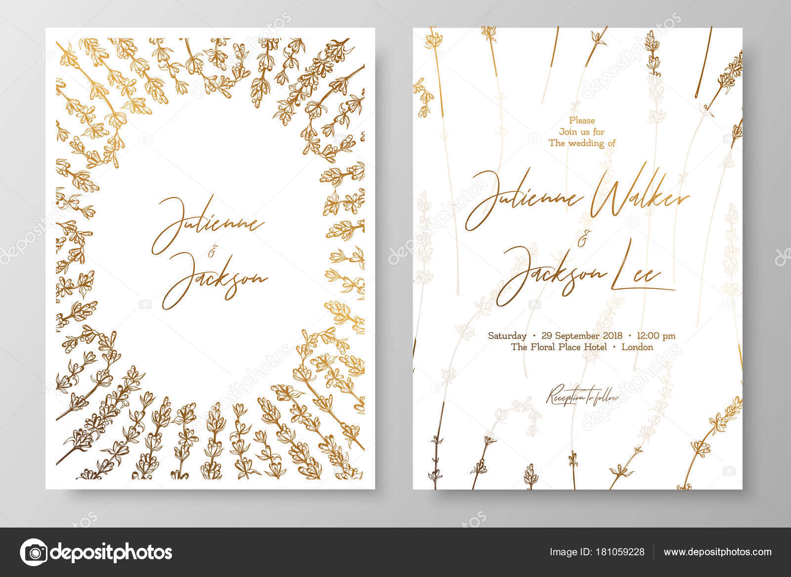 Gold wedding invitation with lavenders. Gold cards templates for ...