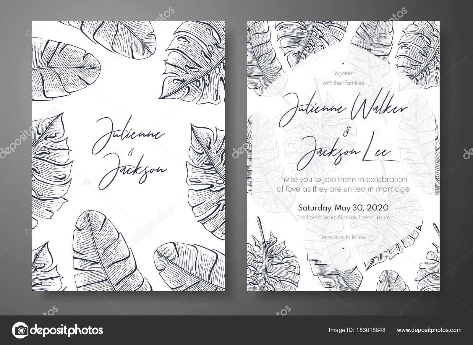 vintage wedding invitation templates with tropical leaves cover
