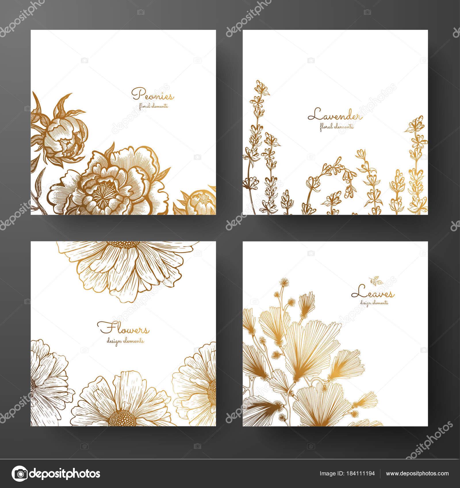 Gold-Sammlung von Karten Design mit Pfingstrosen, Lavendel, Kamille ...
