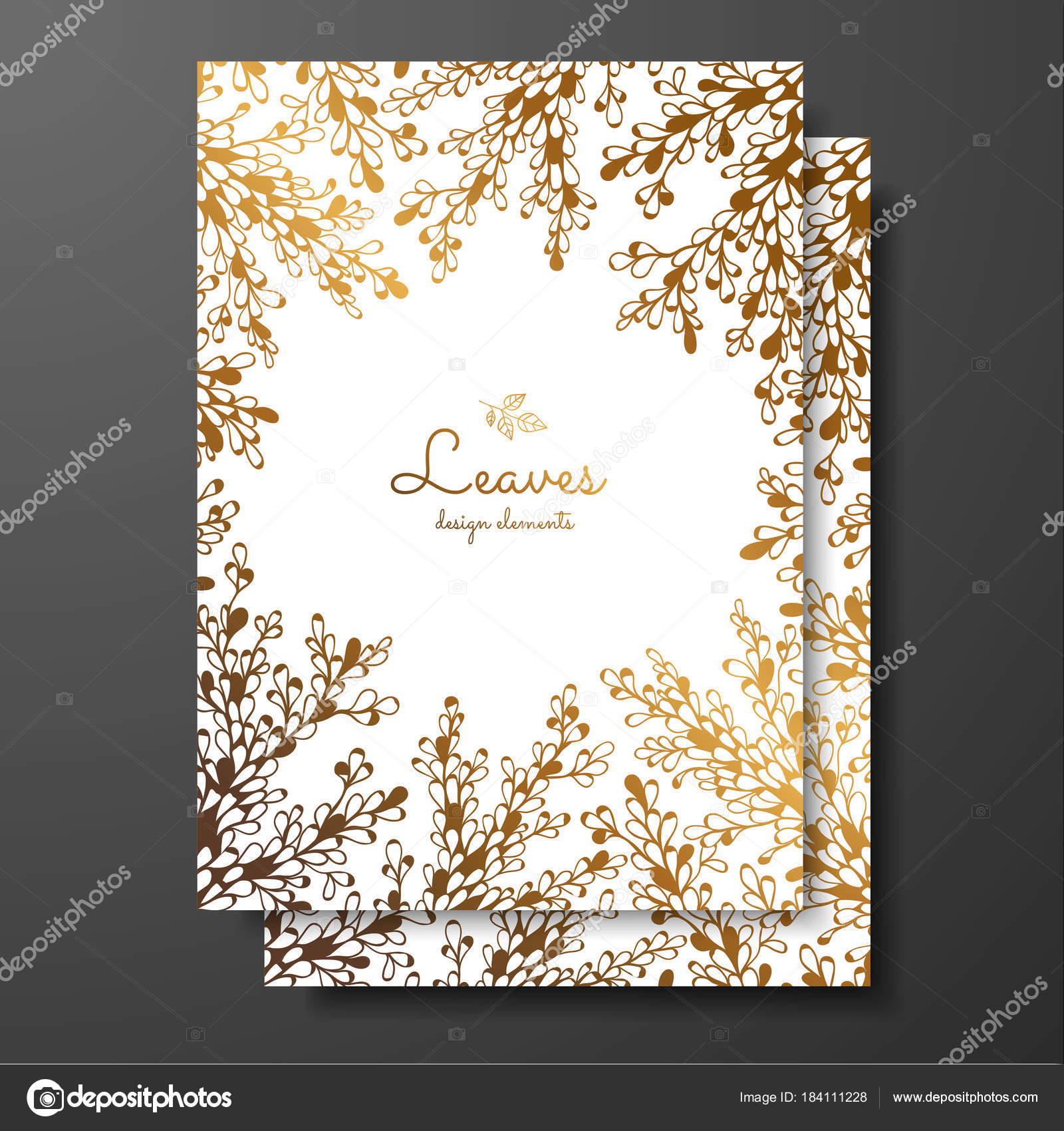 gold floral card template with abstract plants template frame for