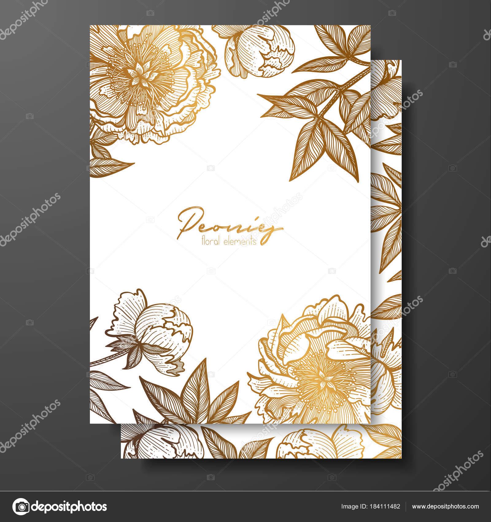 Goldene Hochzeitseinladung mit Pfingstrosen, Knospen und Blätter ...