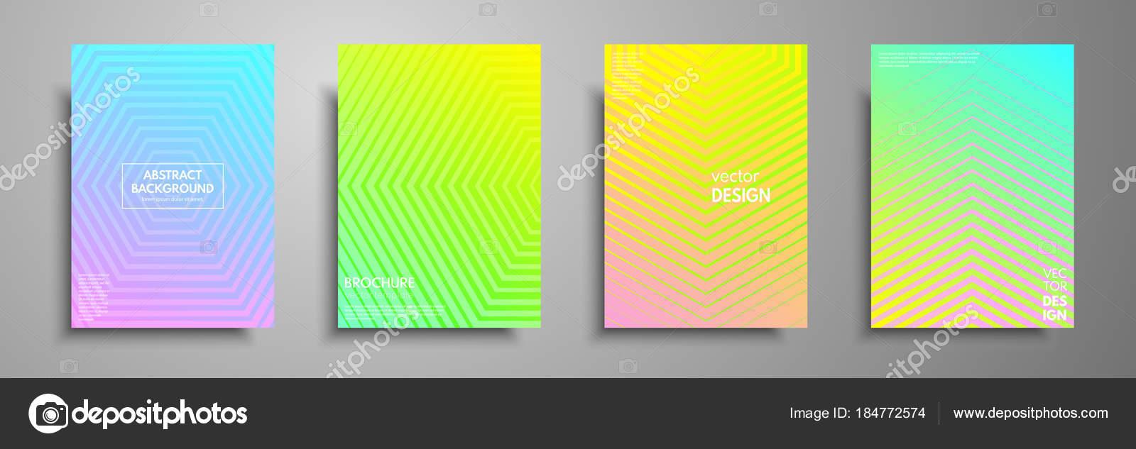 Bunte Plakat-Vorlagen mit grafischen geometrischen Elementen ...