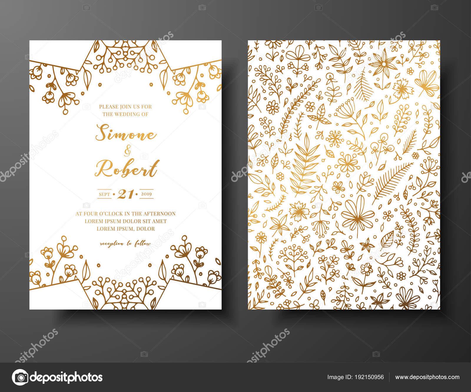 Vectores Tarjeta De Bodas De Oro Para Imprimir Invitación