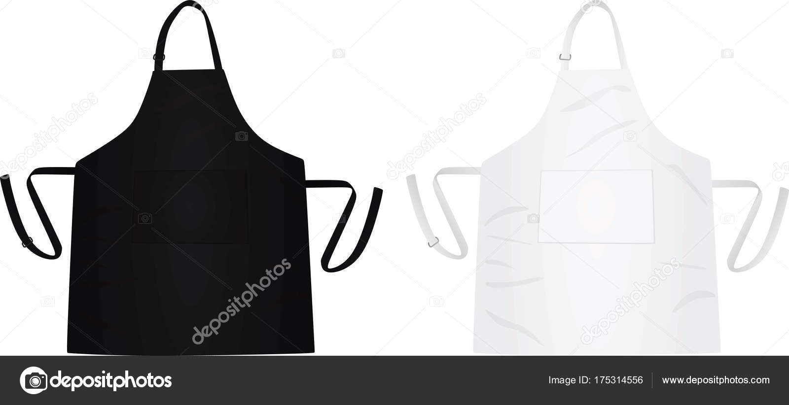 Kitchen Apron Black White Vector Illustration — Stock Vector ...