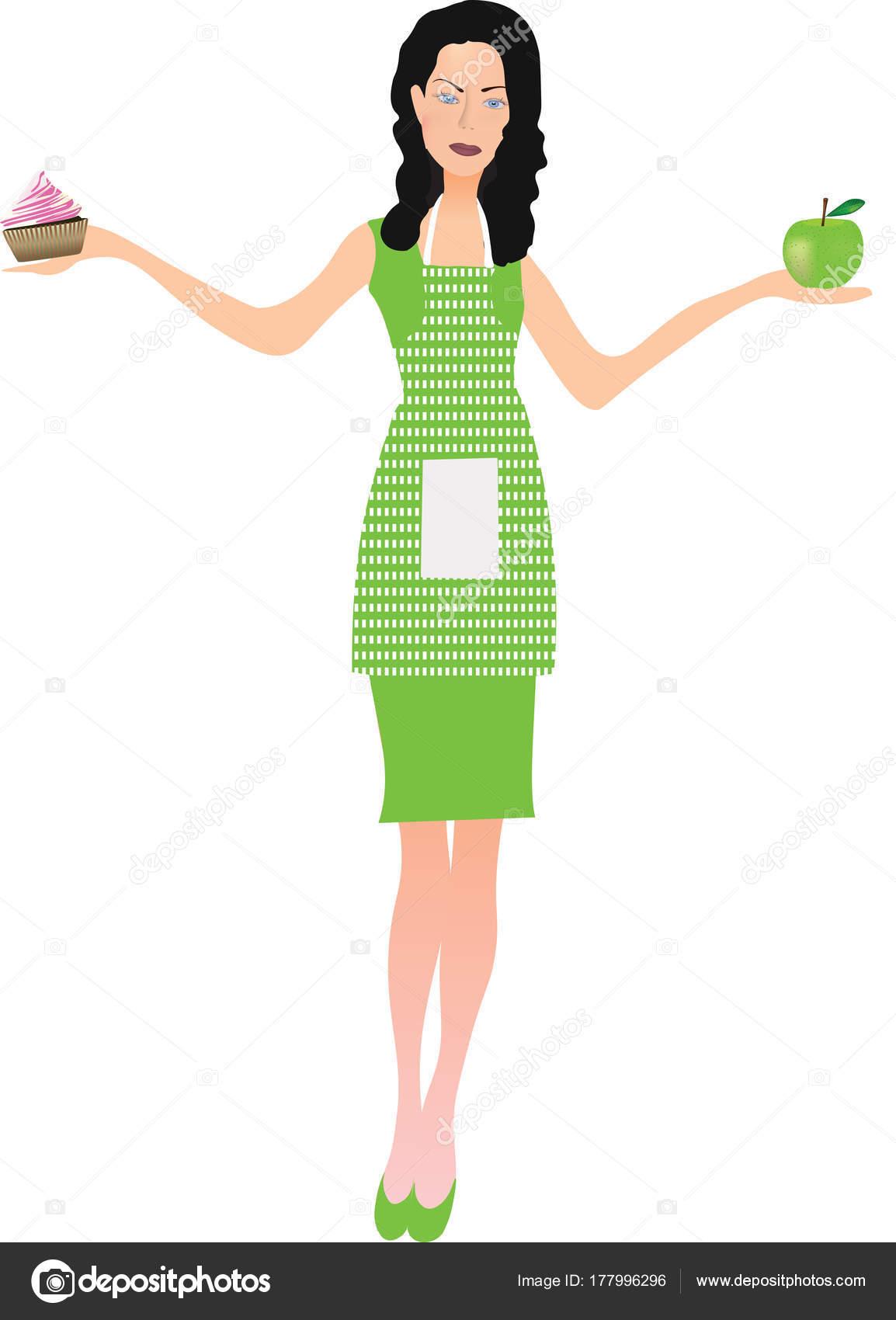 first rate 338f5 b3765 Donna in vestito verde con grembiule che tiene una mela e ...