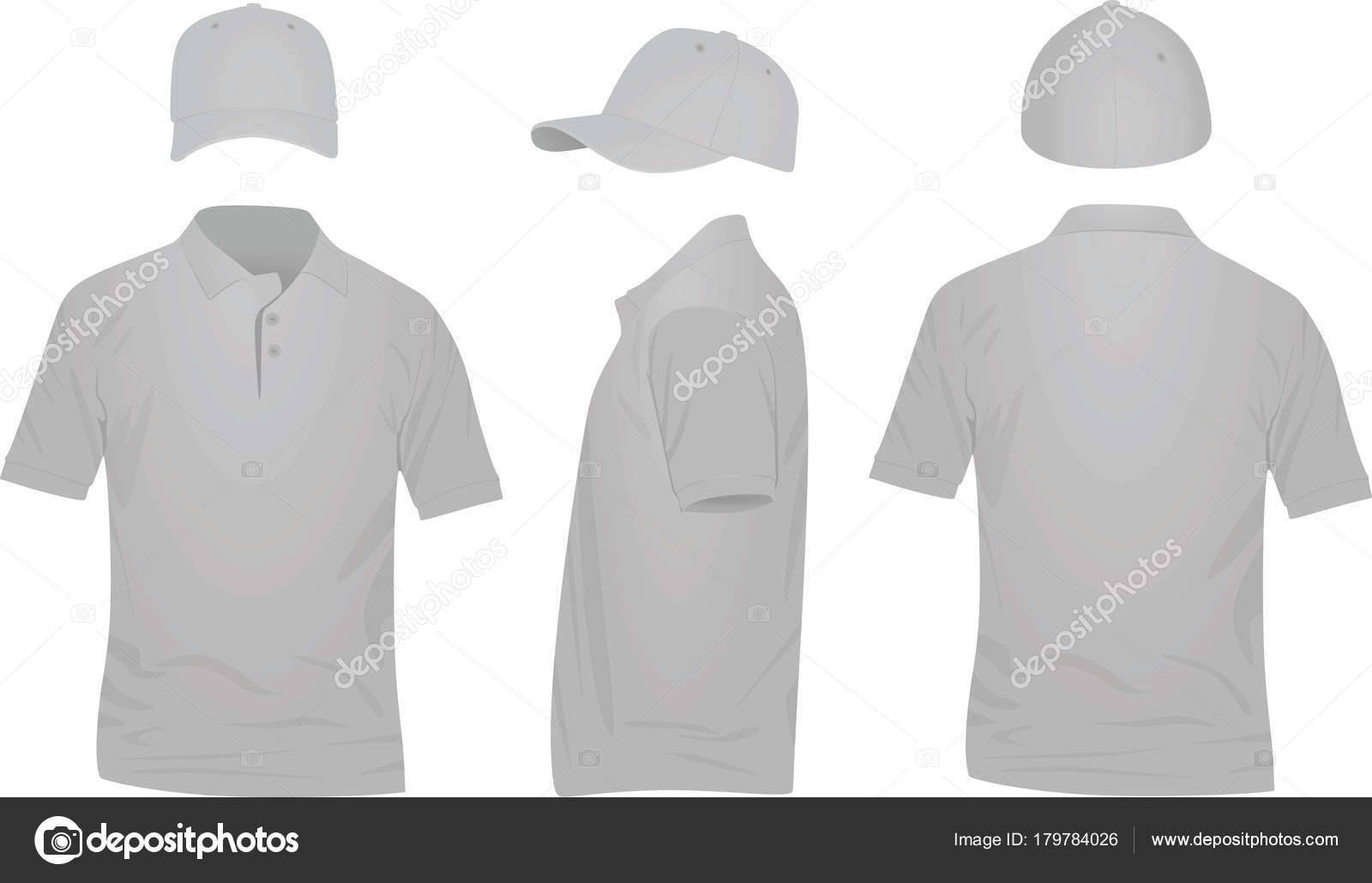 3db601b76 Grey polo t shirt and baseball cap. vector illustration — Vector by ...