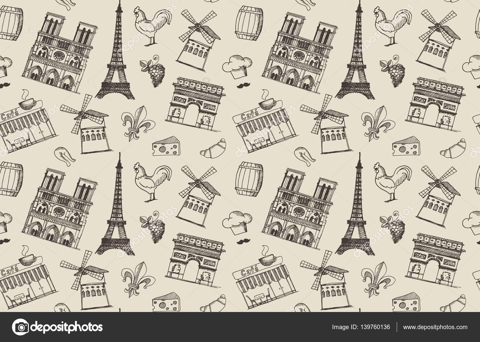 Sketches on the theme of paris and france stock vector