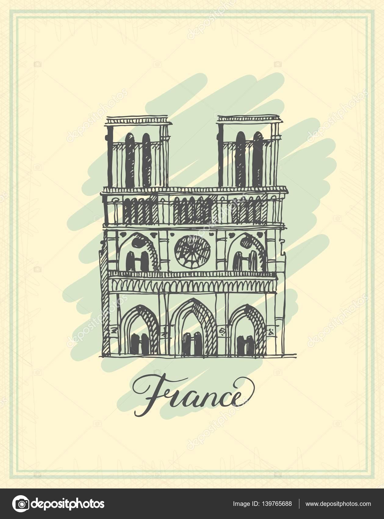 Notre Dame De Paris Disegno.Notre Dame De Paris Cathedral France Hand Drawing Sketch