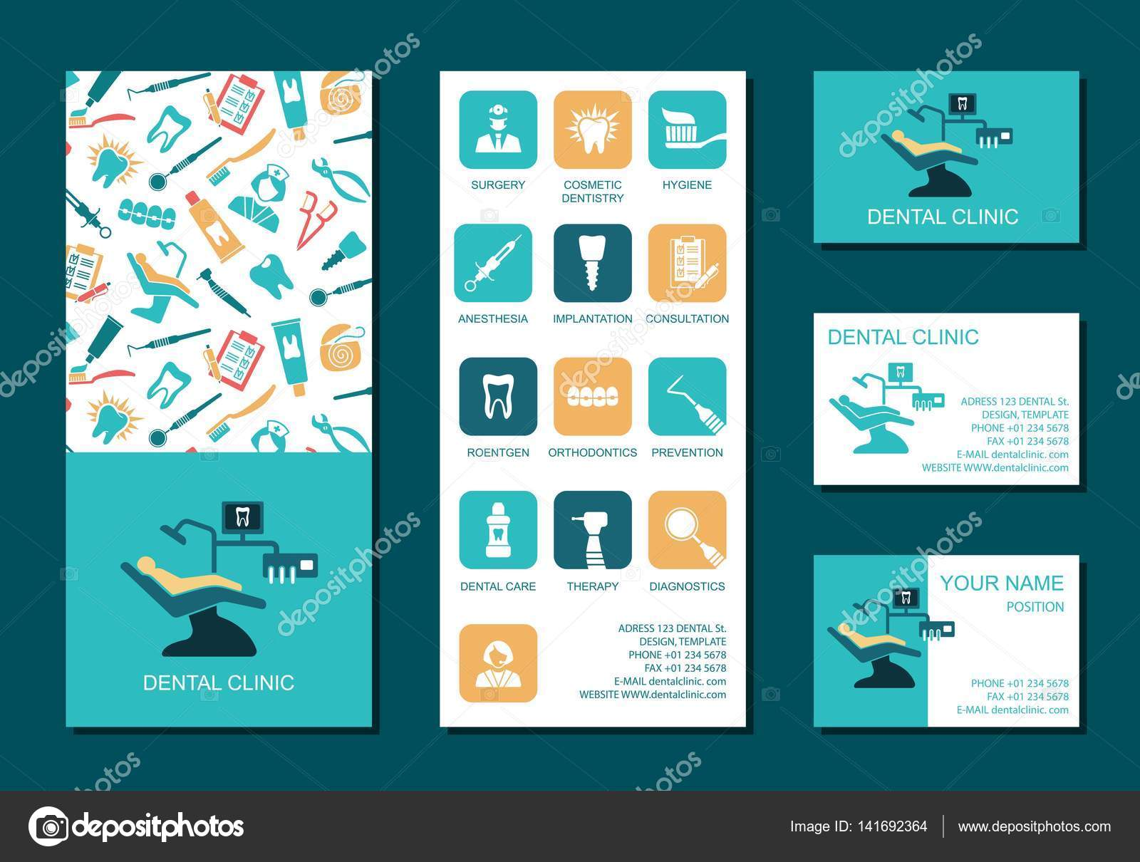 Flyer and business cards for dental clinic — Stock Vector © Klava ...