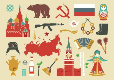 Set of icons on the theme of Russia