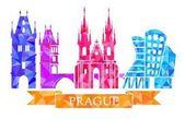 Tradiční symboly Prahy, v polygonální stylu. Prašná brána, Karlův most, Týnský chrám, Prague Tančící dům