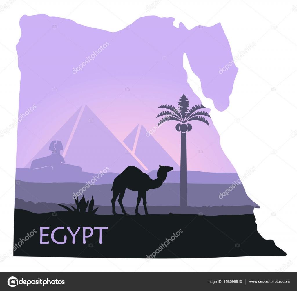 Mısır Manzara Bir Deve Piramitleri Ve Sfenks Haritalar şeklinde