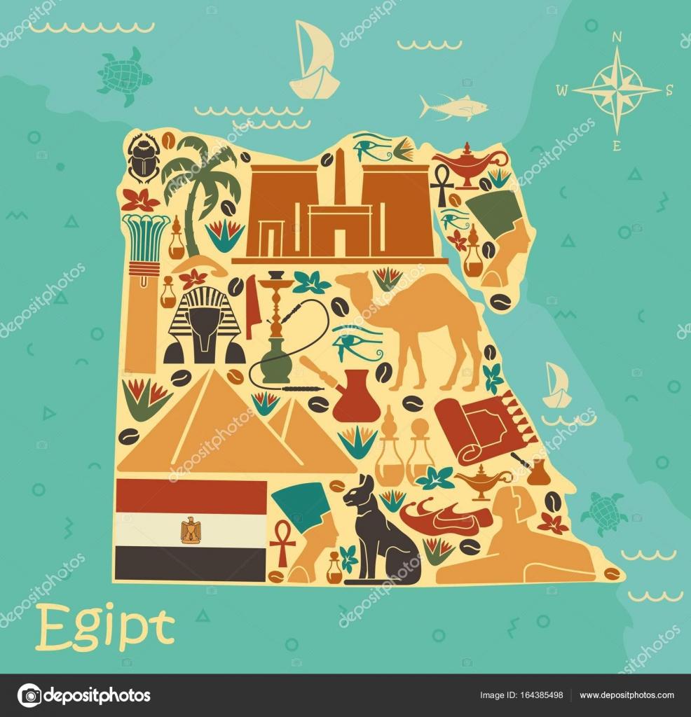 Karte Von ägypten.Karte Von ägypten Mit Traditionellen Symbolen Stockvektor Klava