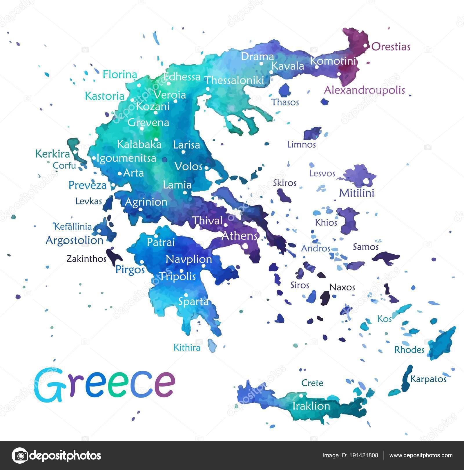 Karte Griechenland.Hand Gezeichnete Aquarell Karte Griechenland Stockvektor Klava