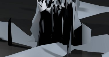 Abstract background made by crystals in monotones gray and black.