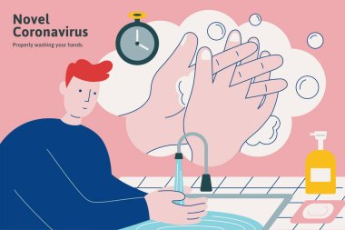Washing your hands properly all the times, flat style illustration