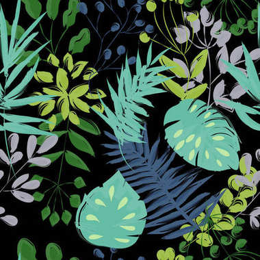 seamless pattern of blue and green plants on a black backgroun
