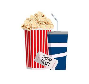 cinema. objects popcorn, ticket  and soda.