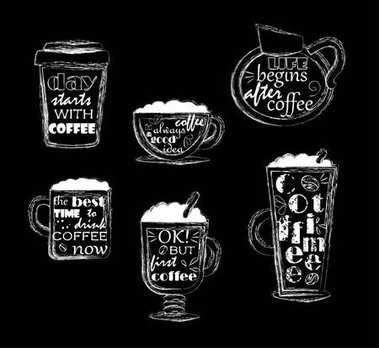 text about coffee on coffee cups. vector illustration
