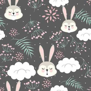 pattern cartoon for Valentine's day with a sleeping Bunny in the