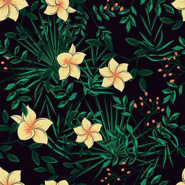 pattern of leaves of a palm tree and flowers on a dark backgroun