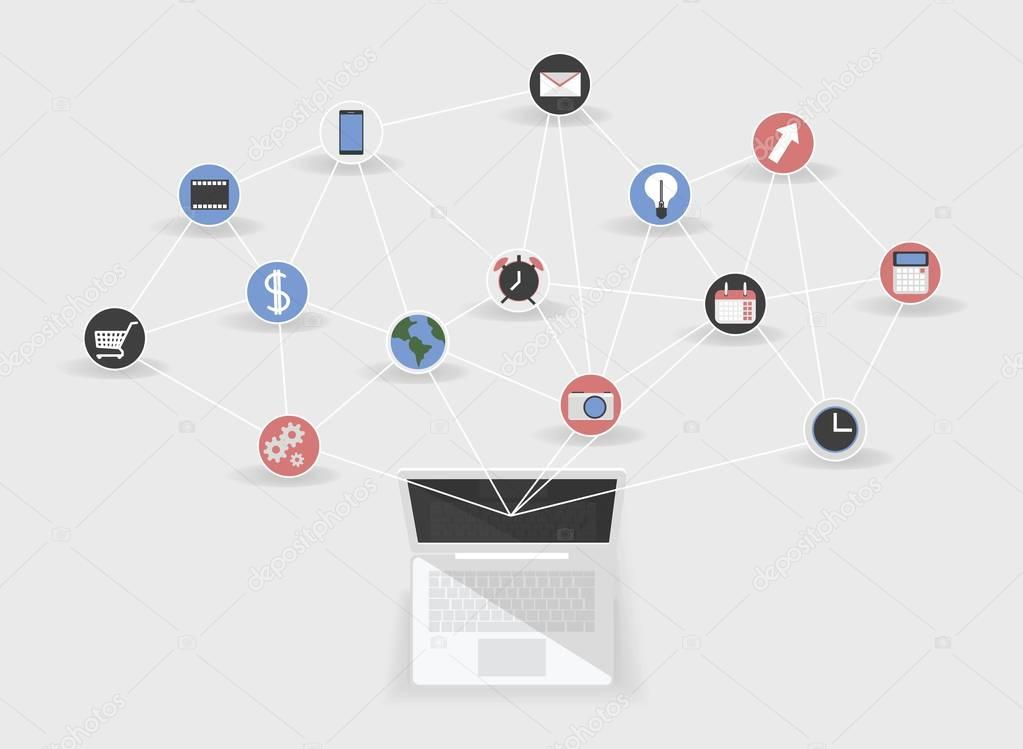 The concept of social networking. organizer. Connected apps