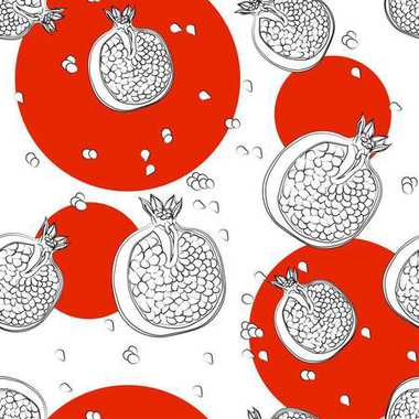 a pattern of pomegranates on a background of circles seamless backgroun