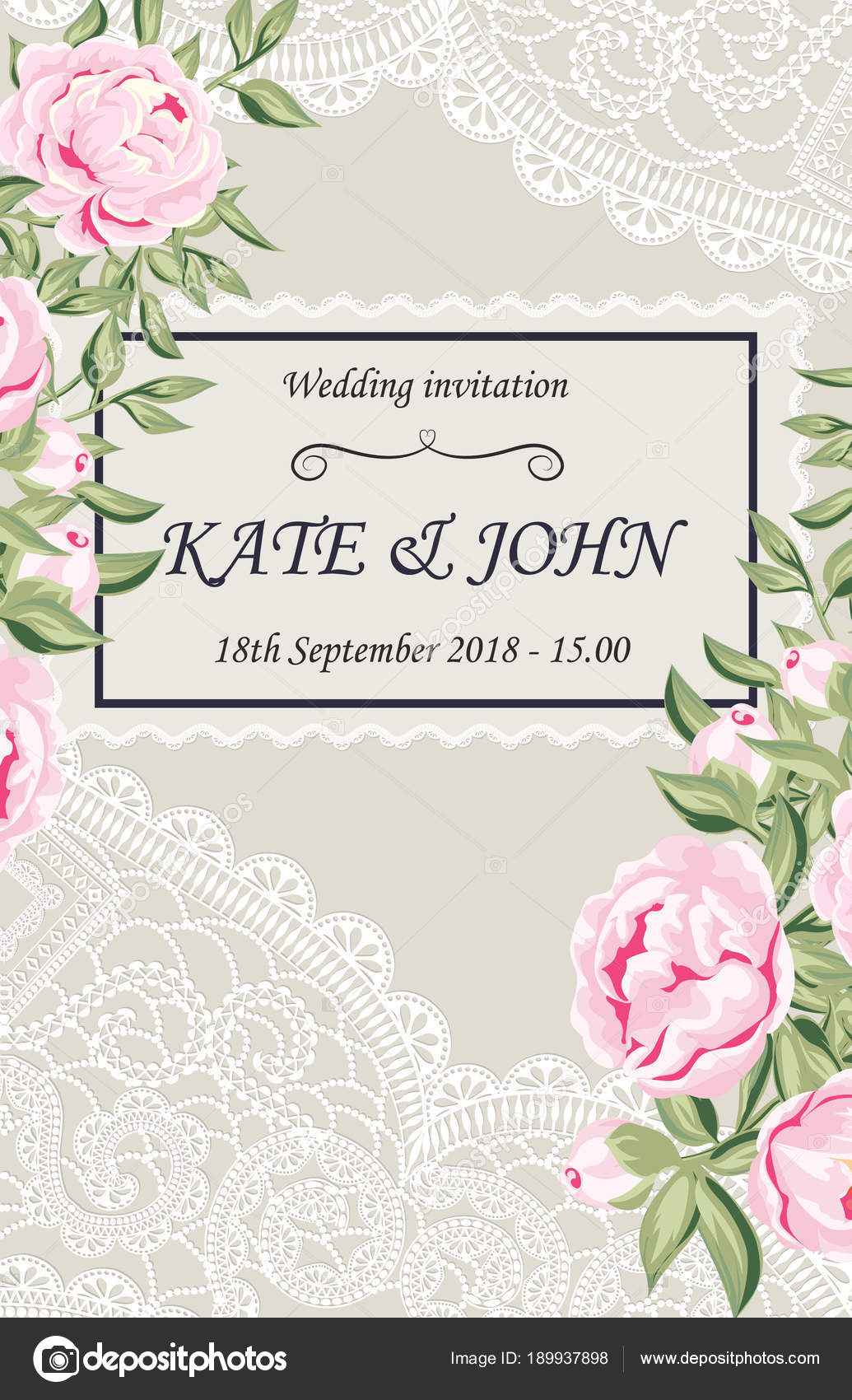 Wedding invitation with peonies and lace stock vector katyarusha wedding invitation with peonies and lace vector illustratio vector by katyarusha stopboris Images