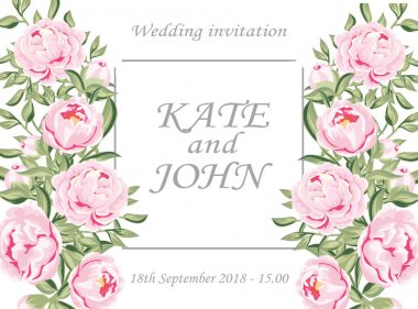 wedding invitation with peonies and lace