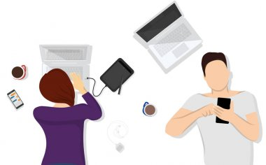 designer, the concept of social networking, freelancing, work at home, work at a computer, students. flat vector illustration.