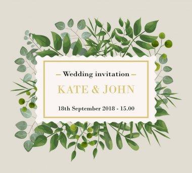 Wedding Invitation, floral invite thank you, rsvp modern card De