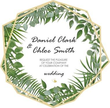 Wedding Invitation, rsvp modern card Design. Vector natural, bot