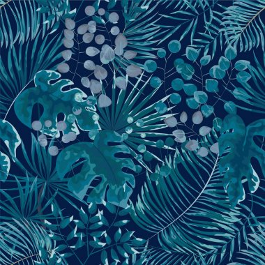 seamless pattern of green leaves. green tropical background in w