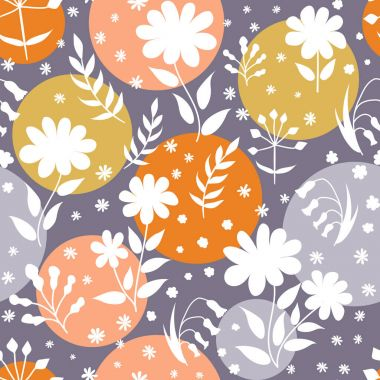 Vector floral pattern in doodle style with flowers and leaves. G
