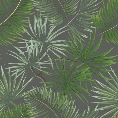 seamless pattern of bright green tropical leaves on grey backgro