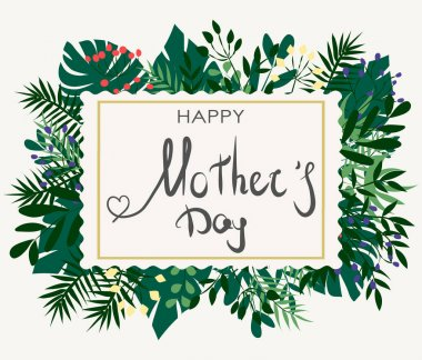 happy mother's day on tropical leaves background. green tropical