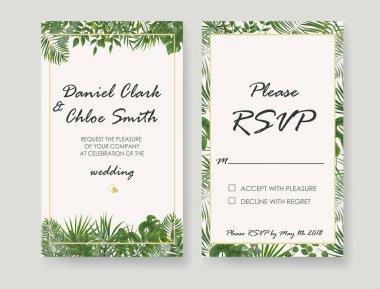 Wedding Invitations, RSVP modern card design