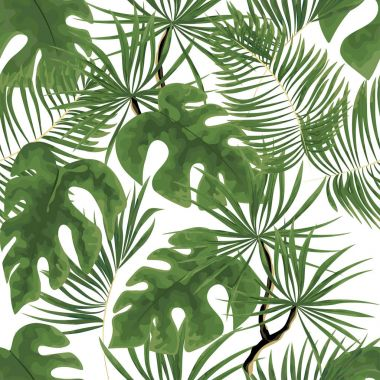 seamless pattern of bright green tropical leaves on white backgr