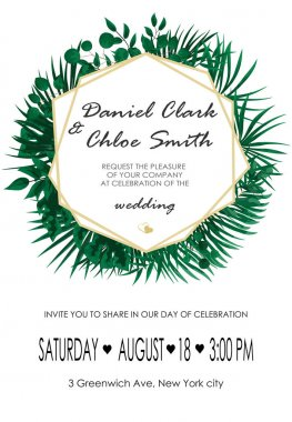 Wedding Invitation, rsvp modern card Design. Vector natural, botanical, elegant template.Wedding floral watercolor style, invitation, save the date card design with forest greenery herbs, leaves.