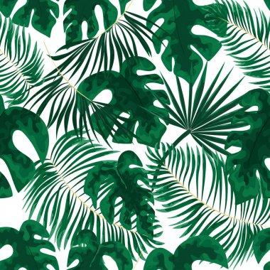 seamless pattern of green leaves. green tropical background in watercolor style. Vector natural, Botanical, elegant pattern.save background design with forest green herbs, leaves, fern.