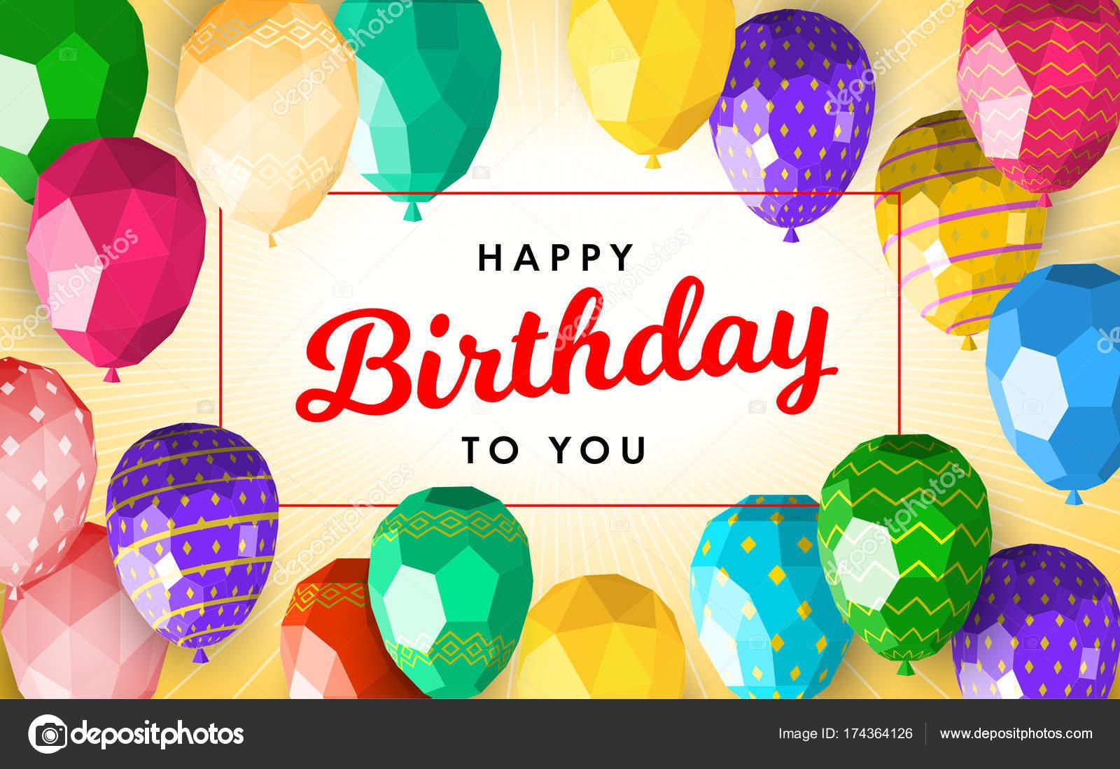 Happy Birthday Greeting Card Template With Modern Low Polygonal Balloons Good For Flyer Postcard Banner Leaflet Vektor Von Sundali