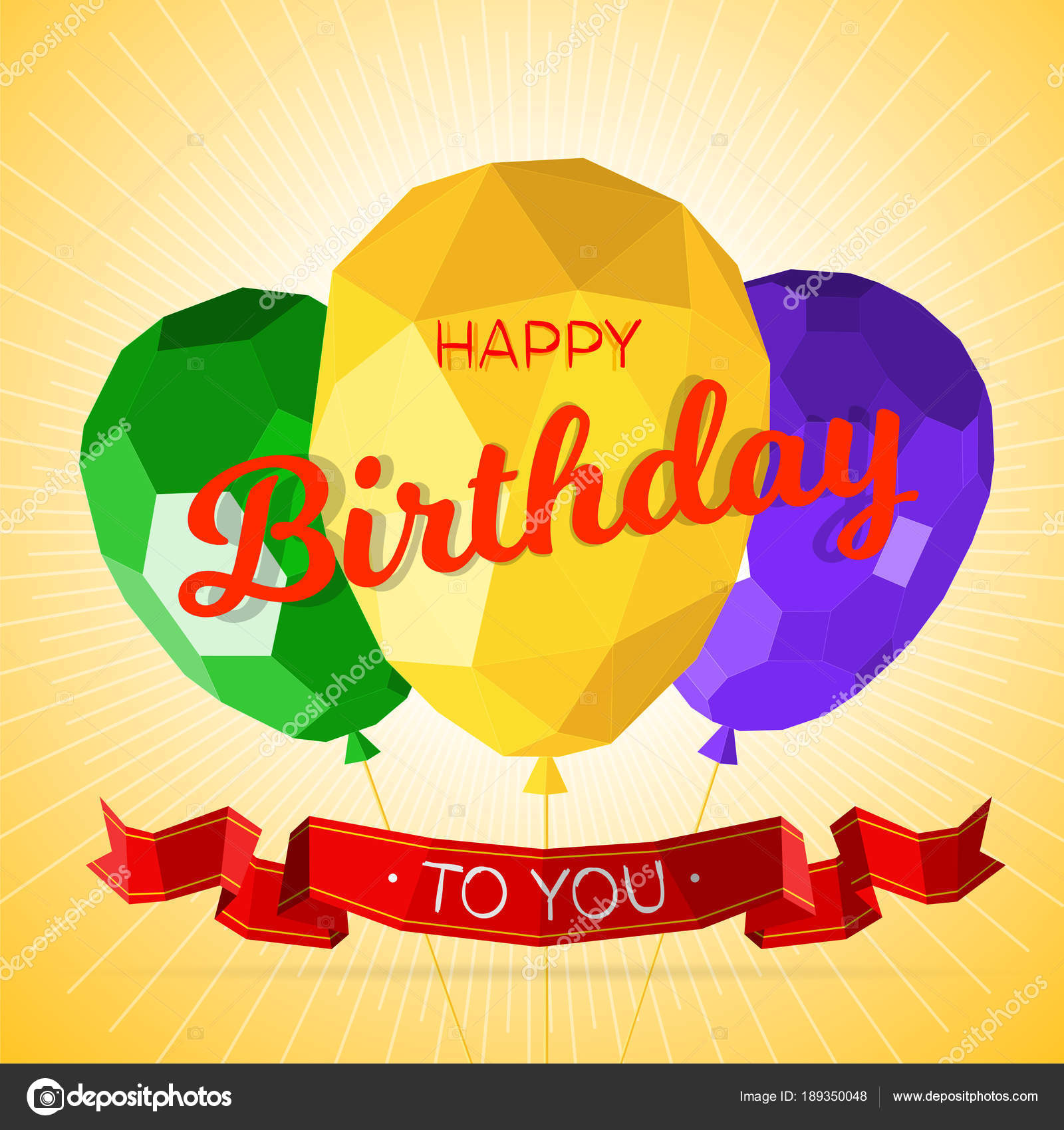 happy birthday greeting card template with modern low polygonal