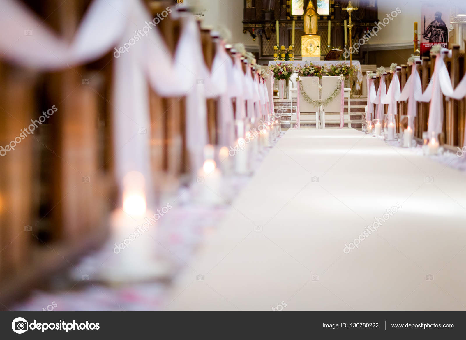 Beautiful church decorated for wedding ceremony — Stock Photo ...