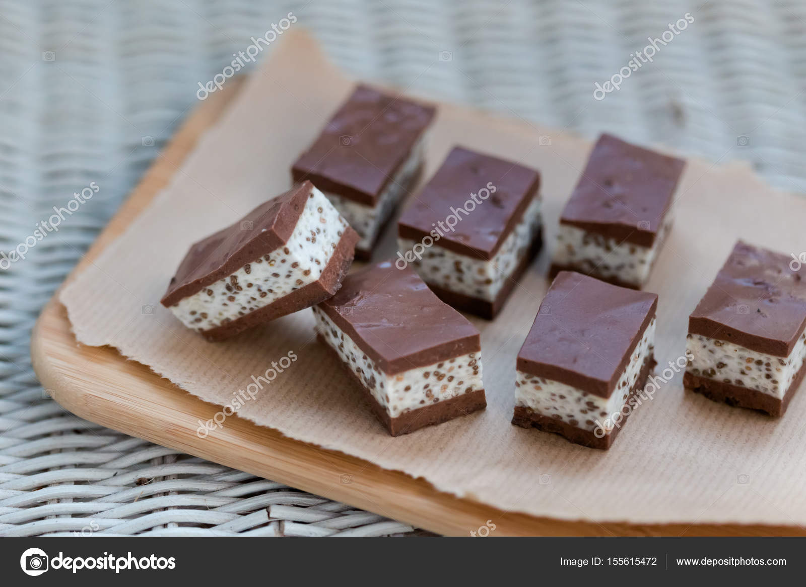 Delicious homemade chocolate covered marshmallow– stock image