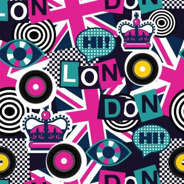london musical pop art seamless pattern