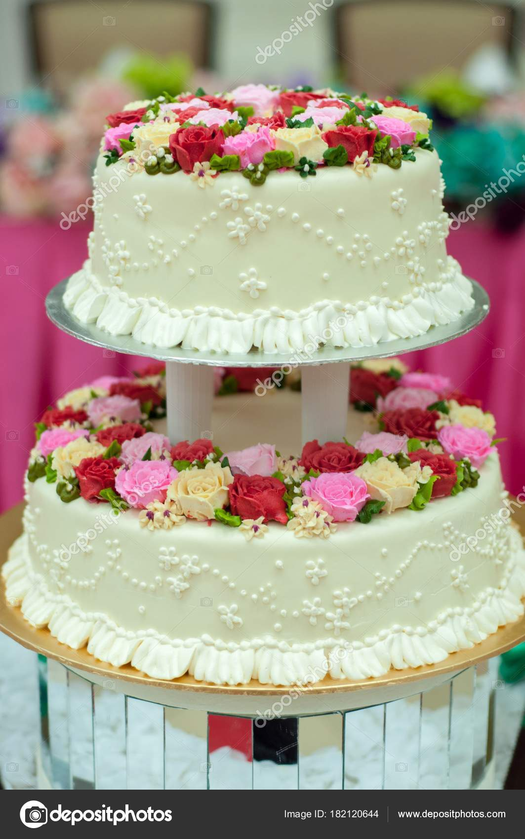 Beautiful Wedding Cake Rose Flower Stock Photo