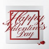 Moderne Typografie-Grußkarte mit fröhlichem Valentinstag-Text-Design auf weißem Hintergrund; klassisches und schönes Kartenkonzept..