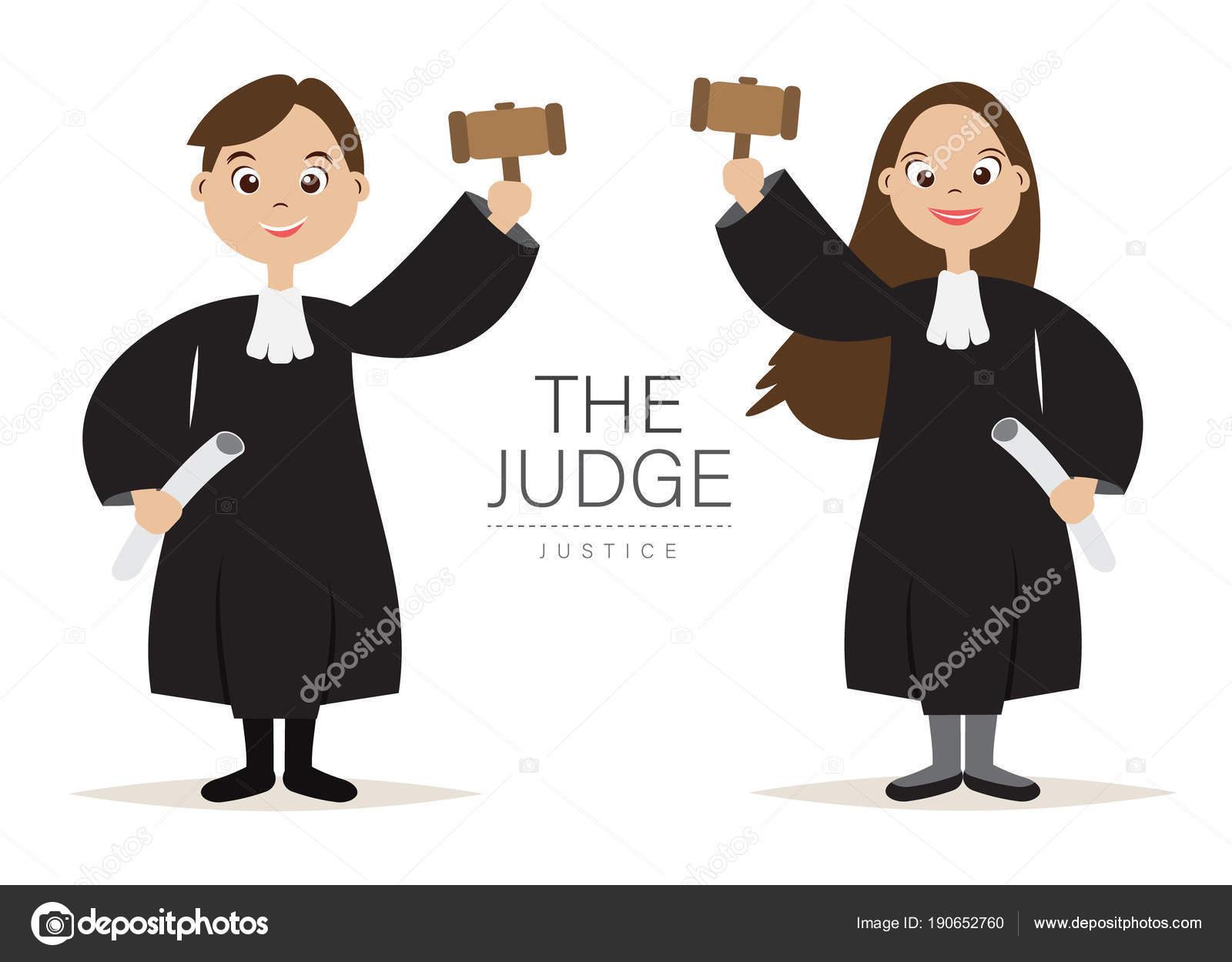 裁判官の漫画のキャラクター デザインは裁判官および正義 ベクトル